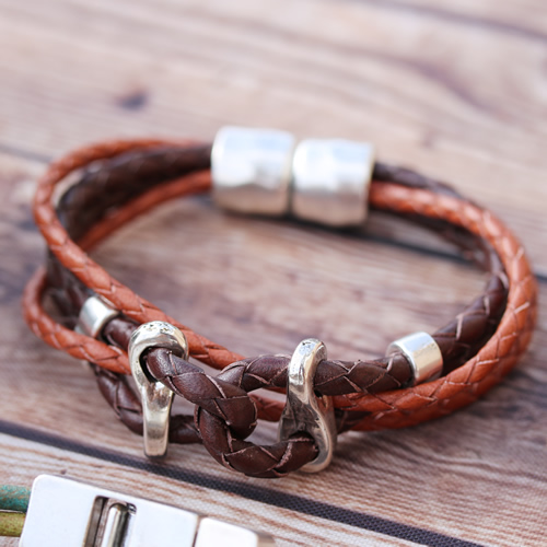 Tan and Brown Twisted Bracelet