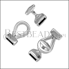 10mm flat OVAL LOOP + BAR clasp ANT SILVER - 5 clasps