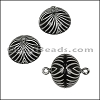 ACRYLIC BEADING magnetic clasp 14mm STRIPE BLACK/SILVER - per 10 pieces