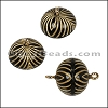 ACRYLIC BEADING magnetic clasp 14mm STRIPE BLACK/GOLD - per 10 pieces