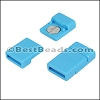 10mm flat ACRYLIC magnet TURQUOISE - per 10 clasps