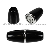 6mm round ACRYLIC magnet S.L. SHINY BLACK - per 10 clasps