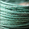 4mm round AMERICAN BRAIDED leather TEAL - per 3 feet
