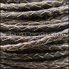 4mm round AMERICAN BRAIDED leather BROWN - per 3 feet