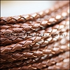 4mm round AMERICAN BRAIDED leather PECAN - per 3 feet