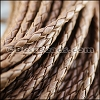 4mm round AMERICAN BRAIDED leather LIGHT BROWN - per 3 feet
