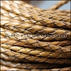 4mm round AMERICAN BRAIDED leather CARAMEL - per 3 feet