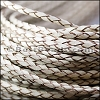 4mm round AMERICAN BRAIDED leather NATURAL - per 3 feet