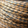 4mm round AMERICAN BRAIDED leather HARLEQUIN - per 3 feet
