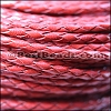 4mm round AMERICAN BRAIDED leather RED - per 3 feet