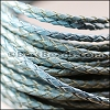 4mm round AMERICAN BRAIDED leather BLUE - per 3 feet