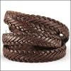 15 x 3.5mm Braided Leather Strip STYLE 1 7x3 - CHOCOLATE BROWN