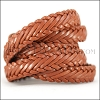 15 x 3.5mm Braided Leather Strip STYLE 1 7x3 - TAN