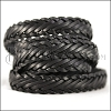 15 x 3.5mm Braided Leather Strip STYLE 1 7x3 - BLACK