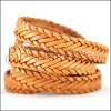 15 x 3.5mm Braided Leather Strip STYLE 1 7x3 - TOBACCO