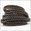 10 x 4.5mm Braided Leather Strip STYLE 2 7x2 - CHOCOLATE BROWN