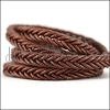 10 x 4.5mm Braided Leather Strip STYLE 2 7x2 - TAN