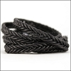 10 x 4.5mm Braided Leather Strip STYLE 2 7x2 - BLACK