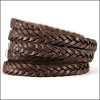 11 x 3.5mm Braided Leather Strip STYLE 2 5x3 - CHOCOLATE BROWN