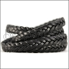 11 x 3.5mm Braided Leather Strip STYLE 2 5x3 - BLACK