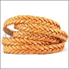 11 x 3.5mm Braided Leather Strip STYLE 2 5x3 - TOBACCO