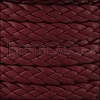 10mm flat BRAIDED leather BORDEAUX - 1 meter