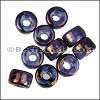 Ceramic Glazed Rondelle PURPLE COPPER per 10 pieces