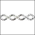 Crinkle Link chain SILVER PLATED- per 25ft spool