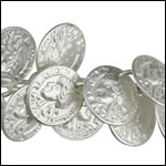 coin dangles chain MATTE SILVER- per 10ft spool