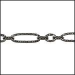 etched figaro chain GUNMETAL - per 25ft spool