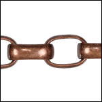 12mm Rounded Rectangle Rolo chain ANT. COPPER - per 32.8ft spool