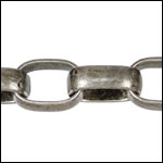 12mm Rounded Rectangle Rolo chain ANT. SILVER - per 32.8ft spool