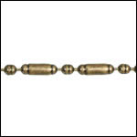 2mm Lined Ball Bar chain ANT. BRASS - per 25ft spool