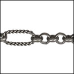 13:1 Rolo Interrupted chain MATTE GUNMETAL - per 50ft spool