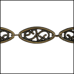 Large Filigree chain ANTIQUE BRASS- per 50ft SPOOL