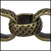 8mm rolo etched crosshatch chain ANT. BRASS - per 25ft spool