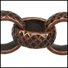 8mm rolo etched crosshatch chain ANT. COPPER - per 25ft spool