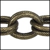 double etched heavy cable chain ANT. BRASS - per 32.8ft spool