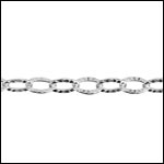 STERLING SILVER etched flat cable chain per foot