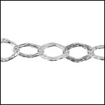 STERLING SILVER hammered flat cable chain per foot