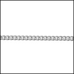 STERLING SILVER flat curb chain per foot