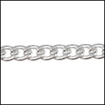 STERLING SILVER 5mm flattened curb chain per foot