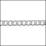 STERLING SILVER 4mm flattened curb chain per foot