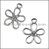 Small Open Flower Pendant with Swarovski Crystal - per 6 pieces