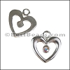 Small Open Heart Pendant with Swarovski Crystal - per 6 pieces