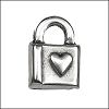 heart locket pendant charm per 20 pieces ANT. SILVER