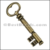 Pewter Key Charm 29 ANTIQUE BRASS - per piece