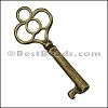 Pewter Key Charm 31 ANTIQUE BRASS - per piece