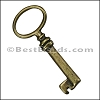 Pewter Key Charm 33 ANTIQUE BRASS - per piece