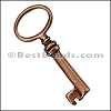 Pewter Key Charm 33 ANTIQUE COPPER - per piece
